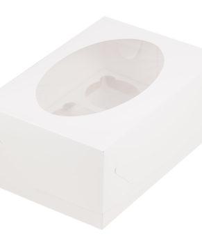 Коробка для капкейков с окном, 6 ячеек, белая