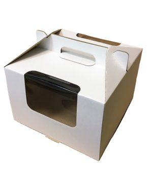 Коробка для торта с окном и ручкой, 30,5х30,5х20,5см, белая