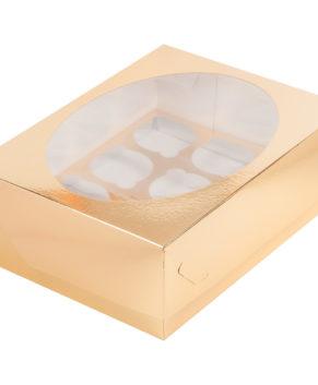Коробка для капкейков с окном, 12 ячеек, золото
