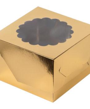 Коробка для капкейков с окном, 4 ячейки, золото