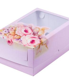 Коробка для капкейков с окном, 6 ячеек, розы