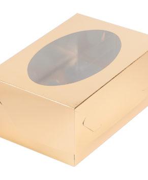 Коробка для капкейков с окном, 6 ячеек, золото