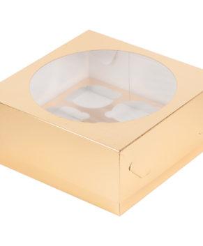 Коробка для капкейков с окном, 9 ячеек, золото