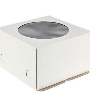 Коробка для торта с окном 30х30х19см, белая