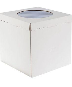 Коробка для торта с окном 30х30х30см, белая