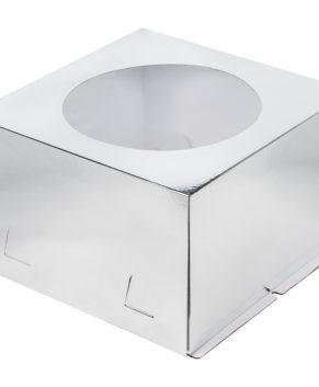 Коробка для торта с окном, 28х28х18см, серебро