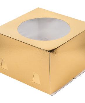 Коробка для торта с окном, 30х30х19см, золото