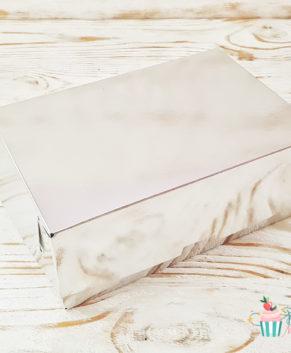 Коробка для пирожных и печенья 19х13х7 см, серебро