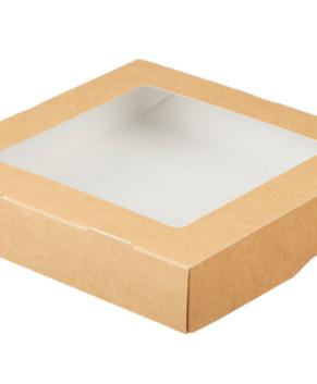 Коробка для пирожных и печенья с окном 20х20х4,5 см, крафт