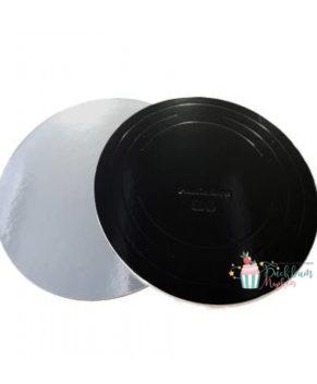 Подложка круглая 30см, черная/серебро, толщ.1,5мм