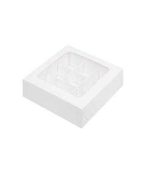 Коробка на 9 конфет с окном, белая
