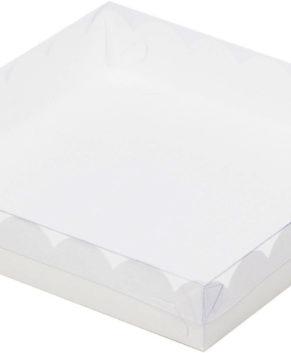 Коробка для печенья, сладостей и пряников с прозрачной крышкой, белая