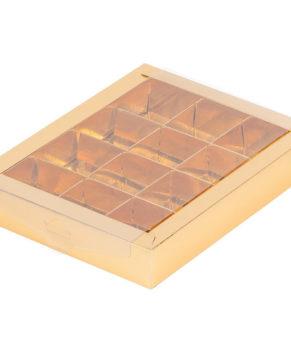 Коробка на 12 конфет с окном, золото