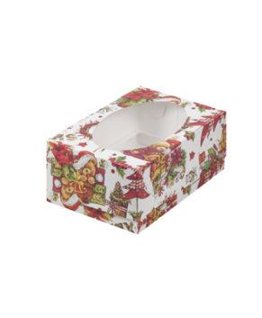 Коробка для капкейков с окном, 6 ячеек, Новогодняя