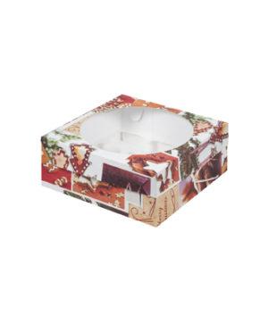 Коробка для капкейков с окном, 9 ячеек, Новогодняя