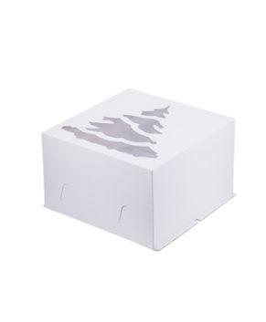 Коробка для торта с окном Ёлка, 30х30х19см, белая