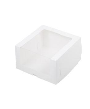 Коробка для торта с увеличенным окном, 23,5х23,5х11см белая