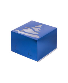 Коробка для торта с окном Ёлка, 30х30х19см, синяя