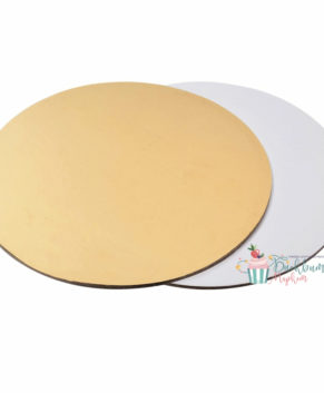 Подложка круглая 24см, золото/белая, 3,2мм