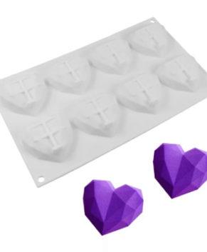 Форма для муссовых десертов Сердце Кристалл, 8 ячеек