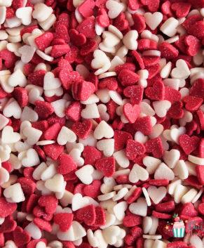 Посыпка кондитерская Сердечки мини красные, белые, розовые, 50гр