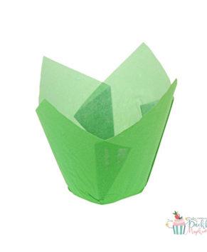 Форма для маффина Тюльпан зеленая 50х80мм, 20шт