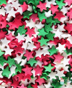 Посыпка кондитерская Звезды красные,белые,зеленые