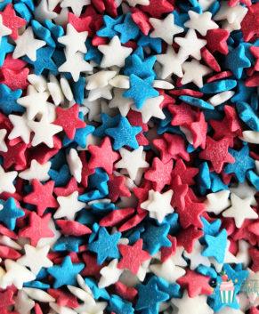 Посыпка кондитерская Звезды  синие, красные, белые, 50гр