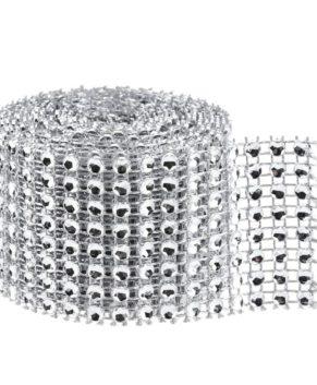 Лента для декорирования со стразами, серебро