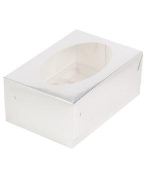 Коробка для капкейков с окном, 6 ячеек, серебро