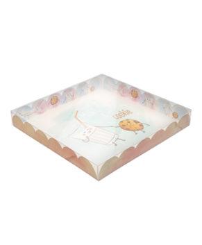 Коробка для печенья и пряников с прозрачной крышкой, цветная