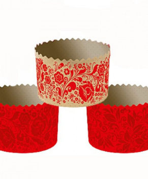 Форма бумажная Красная Пасха, Кулич 300гр, 10шт
