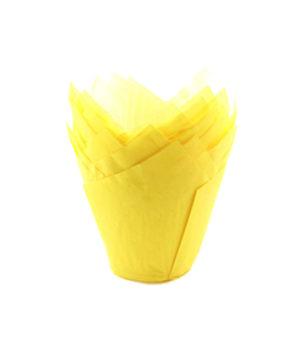 Форма для маффина Тюльпан Желтая 50*80мм, 20шт