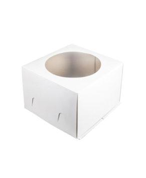 Коробка для торта с окном, 28х28х18см, белая