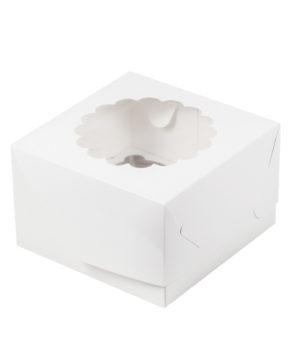 Коробка для капкейков с окном, 4 ячейки, белая