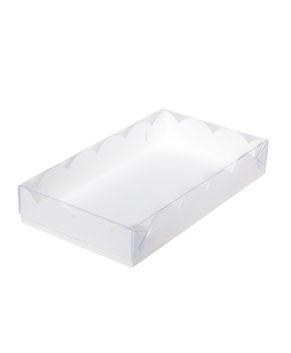 Коробка для пряников с прозрачной крышкой, белая 22х15х3,5 см