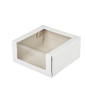 Коробка для торта с окном 22,5х22,5х11см, белая
