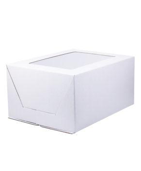 Коробка под торт сборка-конверт с окном 30х40х20см, белая