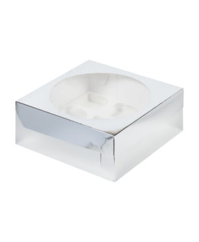 Коробка для капкейков с окном, 9 ячеек, серебро