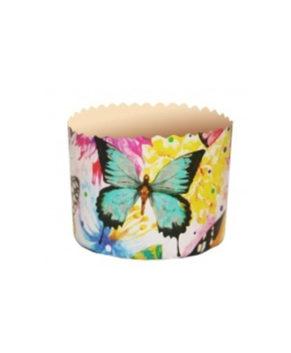 Форма бумажная Цветные бабочки, Кулич 100гр, 10шт