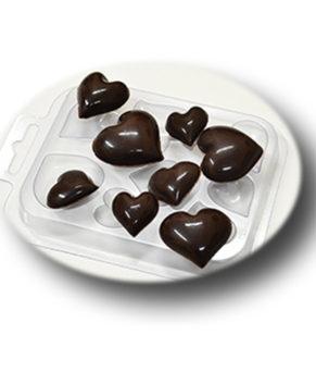 Пластиковая формочка для шоколада, Сердечки