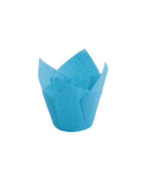 Форма для маффина Тюльпан Голубая 50х80мм, 20шт