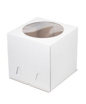 Коробка для торта с окном 24х24х24см, белая