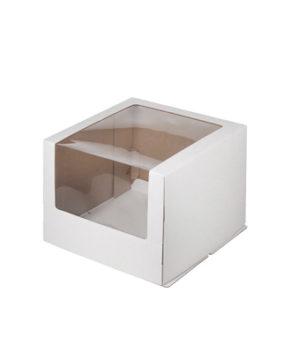 Коробка для торта с с увеличенным окном 26х26х21см, белая