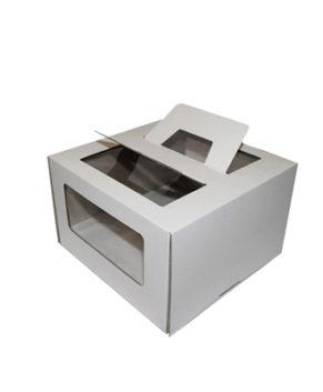 Коробка для торта с окном и ручкой, 24х24х26см, белая