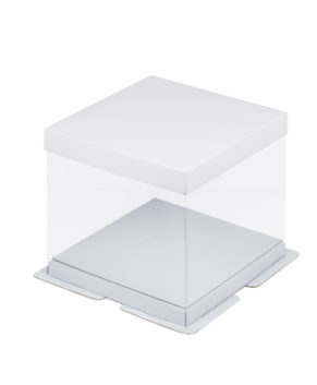Коробка для торта прозрачная 23х23х22см серебро