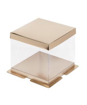 Коробка для торта прозрачная 23х23х22см золото