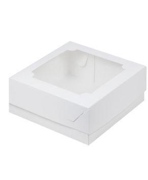 Коробка для зефира и печенья с окошком 20х20х7 см, белая