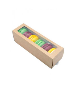 Коробка для макарун и сладостей с окном 18х5,5х5,5см