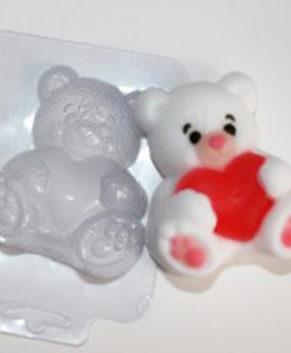 Пластиковая форма для шоколада Мишка с сердцем